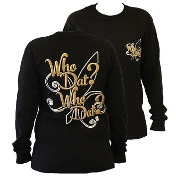Southern Couture New Orleans Saints Who Dat Who Dat Fleur De Lis Girlie Long Sleeve Bright T Shirt