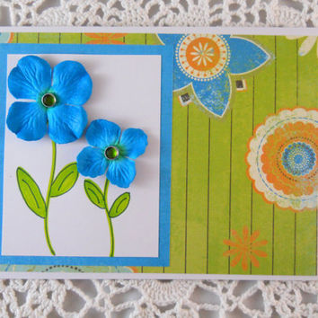 Spring Card Mother's Day Card with Teal Flowers Encouragement Note Card for Mom Blank Inside