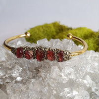 Raw Garnet Crystal Bracelet | Natural Gemstone Jewelry | Pyrite Gold Bracelet | Raw Minerals Cuff | Bridal Jewelry | January Birthstone