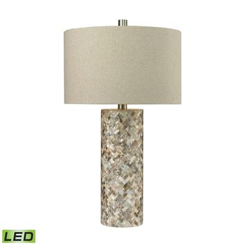 D2608-LED Trump Home Herringbone LED Table Lamp In Natural Mother of Pearl - Free Shipping!