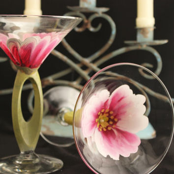 Hand Painted Martini Glasses, Wedding Drinkware, Hand painted Flowers on glass , Birthday Glass