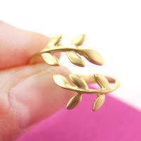 Beautiful Floral Leaves Wrap Around Adjustable Ring in Gold | DOTOLY