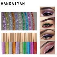 New Colorful Shiny  Gold Silver Eyeliner 10 Colors Waterproof Glitter Liquid Eyeliner Make Up Eye Liner Pencil