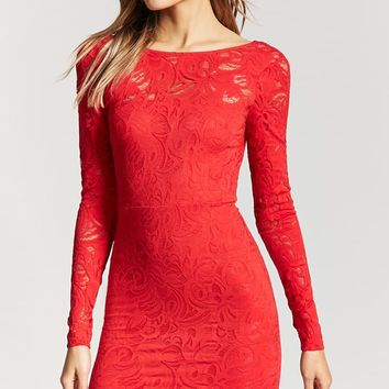 Plunge Back Lace Dress