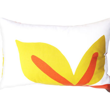 Yellow & Orange Pattern Rectangle Pillow