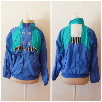 Womens Vintage 80s Tracksuit Windbreaker Jacket Small