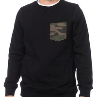 Dravus Escape Black & Camo Pocket Crew Neck Sweatshirt