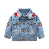 LILIGIRL Baby Girls Denim Coats Jeans Jackets For Girl Toddler Denim Jackets Infant Jean Rose Flower Embroidery Girl Coat