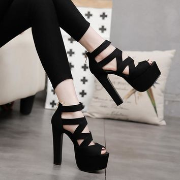 POADISFOO Spring Summer  15CM Fashion Thick With Sandals Fish Mouth Shoes High-heeled Hollow Sandals Nightclub High .ZYW-303-57