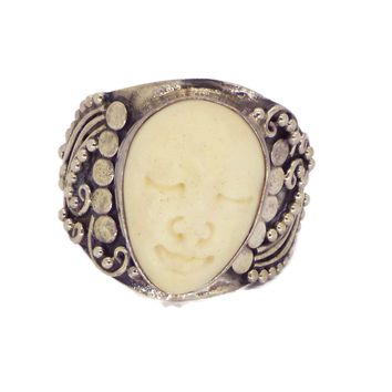 Balinese Bone Sterling Silver Ring, Size 6