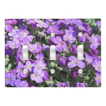 Purple Flowers Light Switch Cover