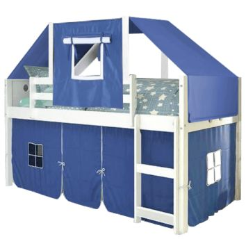 Christopher White Loft Bed with Blue Fort & Tent