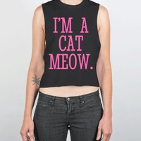 Cat Person I'm A Cat Meow Chopped Tank Top Hot Pink Art