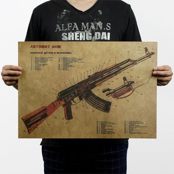 Vintage Retro AK47 Improved Structure Design Paper Poster 50 x 35cm Bar Wall Decoration Free shipping p060