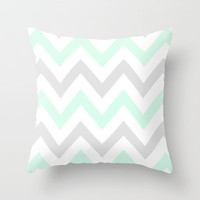 WASHED OUT CHEVRON (MINT & GRAY) Throw Pillow by nataliesales | Society6