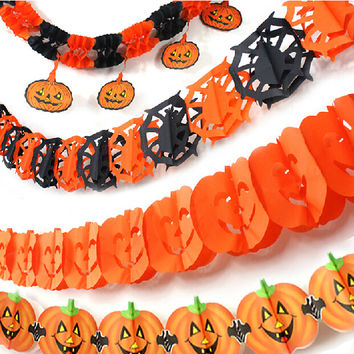 Halloween Decoration Skeleton Pumpkin Witch Skull Paper Garland Halloween Bar Party Stage Set Suppliers