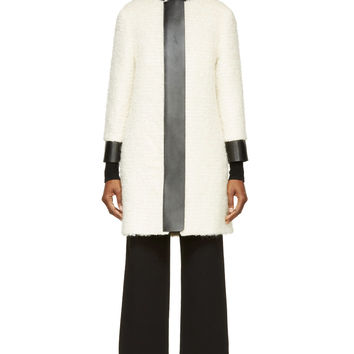 Acne Studios White Boucl Black Leather Trim Temple Coat