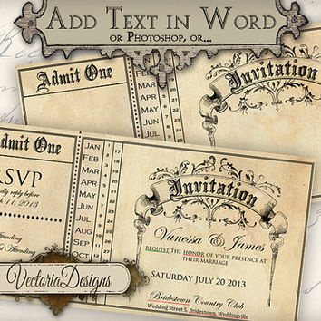 INSTANT DOWNLOAD Printable Invitation Editable instant download wedding invitation printable images digital collage sheet 360