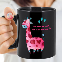 Gifts For Him Her   You Stole My Heart But I'll Let You Keep It   Cute Colorful Giraffe Black Mug