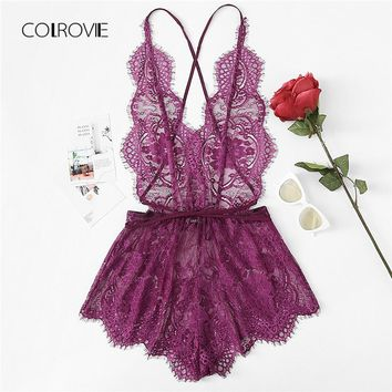 COLROVIE Crisscross Open Back Eyelash Lace Teddy 2018 Summer New Purple Lace Criss Cross Sexy Nightwear Woman Solid Sleepwear