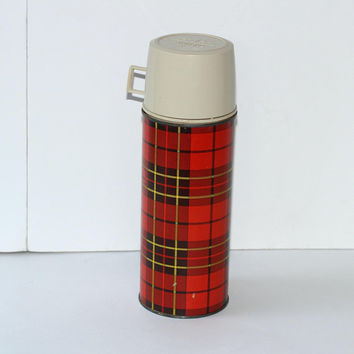 Vintage Red Plaid Thermos 1.5 Pint | Vacuum Bottle King Seeley | Mid Century Modern MCM Thermos | Retro Beverage Thermos | Lunch Thermos