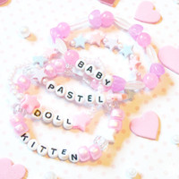 Set of 4 Sweet Kawaii Pastel Pink Bracelets