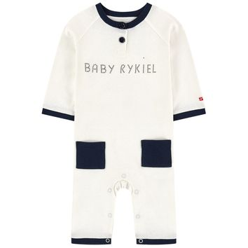 Sonia Rykiel Baby Off-White and Navy Logo Onesuit