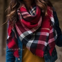 (**new item**) Blanket Scarf/Toggle Poncho in Red Plaid