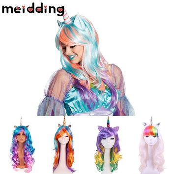 MEIDDING 1pcs Rainbow Unicorn Wig Halloween Decor Bachelorette Party Decor Unicorn Party Craft Supplies Christmas New Year Decor