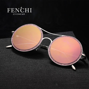 2017 FENCHI metal stainless sunglasses women glitter twinkle bling bling fashion design sunglasses hot rays high quality driver