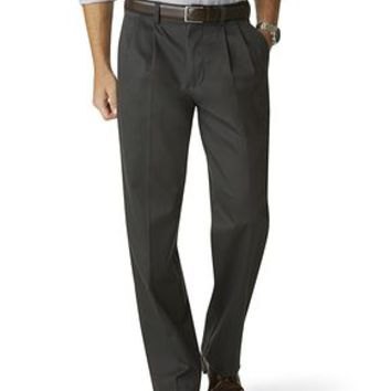 Dockers Signature Khaki Pants, Relaxed Fit Pleated - Grey - Men's