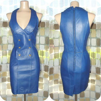 Vintage 80s SEXY Blue Leather Nautical Mini Dress Size 6 Small Deep Plunge Party Cocktail