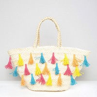 South Beach Straw Beach Bag With Colored Tassels at asos.com