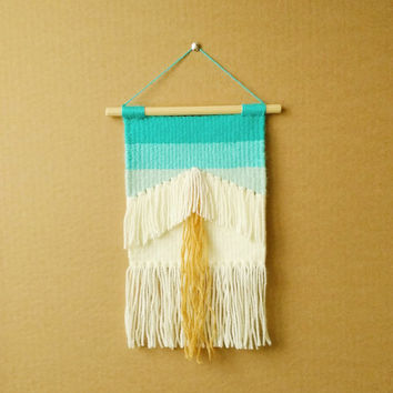 Geometric Hand Woven Boho Weaving Wall Hanging with Turquoise Ombre Effect