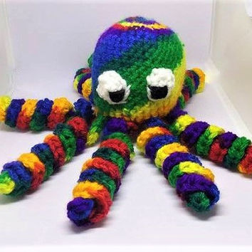 Crochet Octopus, Amigurumi Octopus, Crochet Toy,  Stuffed Animal, Handmade Plush, Nursery Decor, Rainbow Octopus, Crochet Rainbow
