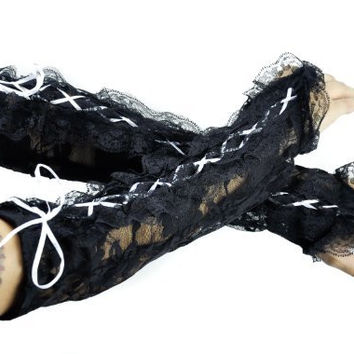 White Lace up Gothic Gloves Wedding Prom Arm Warmer