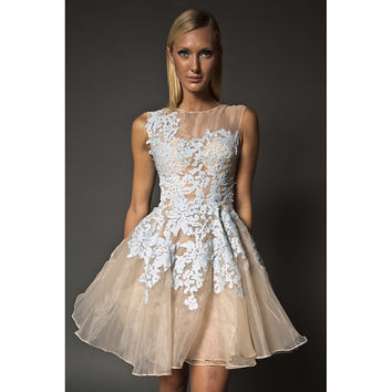 NARCES Gabby Ice Blue Lace Occasion Dress on Nude Silk with Embellishments