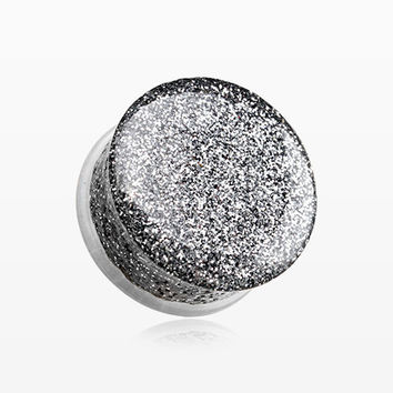 A Pair of Glitter Shimmer Single Flared Ear Gauge Plug