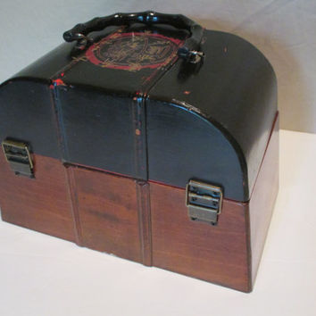 Wooden Handbag, Vintage Asian, Treasure Chest, Decorative Storage, Keepsake Box