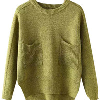 Round Neck Knitted Sweater with Pocket