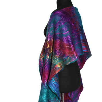 Felted Scarf Long Hand Dyed Multicolor Women Felt Scarf Wrap Merino Wool Silk Felt Scarves