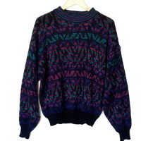 Vintage 80s Dark Jewel Tones Ugly Huxtable / Cosby Sweater