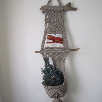 Vintage Wool And Driftwood Macrame Plant Hanger And Woven Wall Hanging