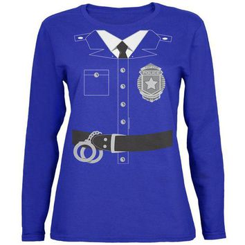 DCCKU3R Halloween Police Policeman Cop Costume Womens Long Sleeve T Shirt
