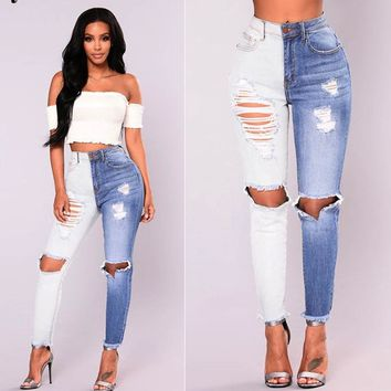 2018 Long Jeans Women Basic Classic High Waist Skinny Pencil Blue Denim Pants spliced Autumn Zipper Elastic Stretch washed Jeans