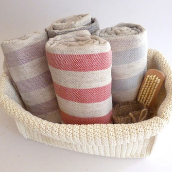 SALE, Set of 4 Turkish towel peshtemal Bath and Beauty, beach Bathroom body wash, home decor, red, aqua, pink and lilac striped, christmas