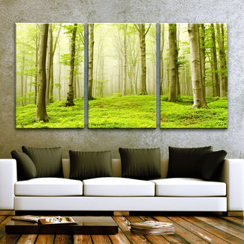 "LARGE 30""x 60"" 3 Panels Art Canvas Print Beautiful Nature Forest Scenery Trees Wall decor interior Home (Included framed 1.5"" depth)"
