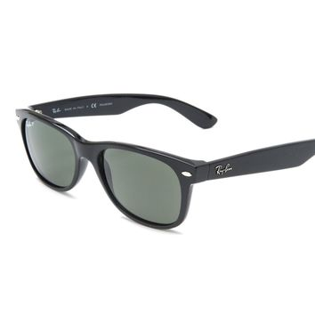 NEW Ray Ban RB2132 90158 52 NEW WAYFARER Black Shiny Unisex Sunglasses Glasses