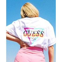 GUESS x atmos joint tide brand men and women round neck loose short-sleeved T-shirt white