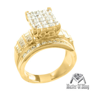 Baguette Princess Lab Diamond 925 Silver 14K Gold Finish Womens Ring